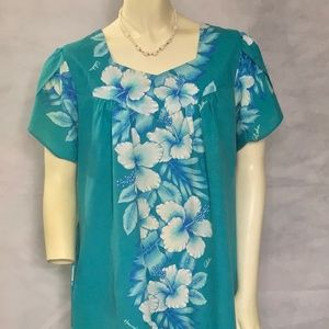 Vintage Aqua Blue Hibiscus Flower Hawaiian Dress